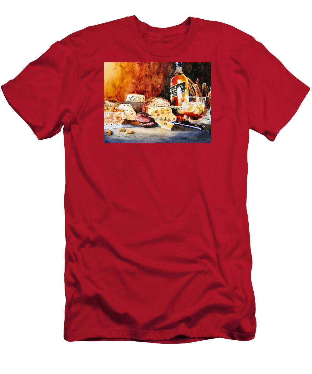 Scotch Men's T-Shirt (Athletic Fit) featuring the painting Spirited Indulgences by Karen Stark