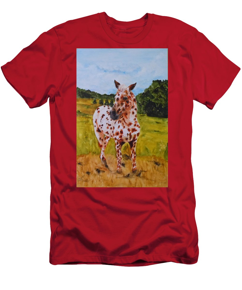 Horse T-Shirt featuring the painting Spotted in Hawaii by Jean Blackmer