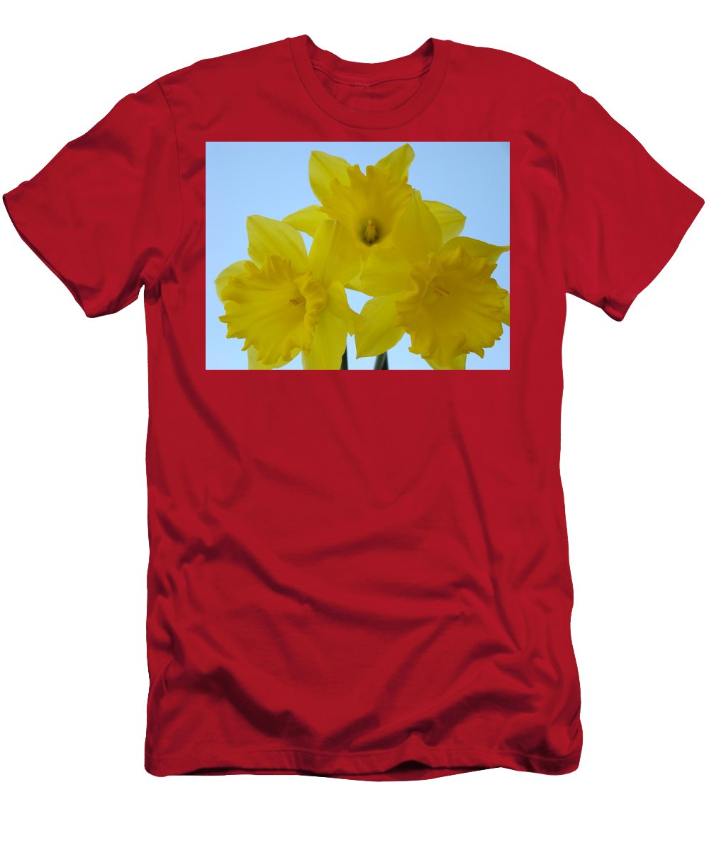 �daffodils Artwork� Men's T-Shirt (Athletic Fit) featuring the photograph Spring Daffodils 2 Flowers Art Prints Gifts Blue Sky by Baslee Troutman