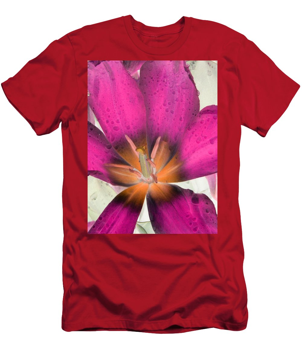 Tulip Men's T-Shirt (Athletic Fit) featuring the photograph Spring Tulips - Photopower 3110 by Pamela Critchlow