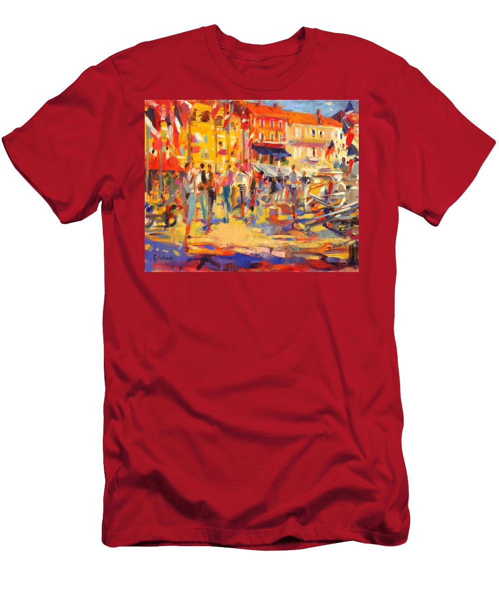 Bright Men's T-Shirt (Athletic Fit) featuring the painting St Tropez Promenade by Peter Graham