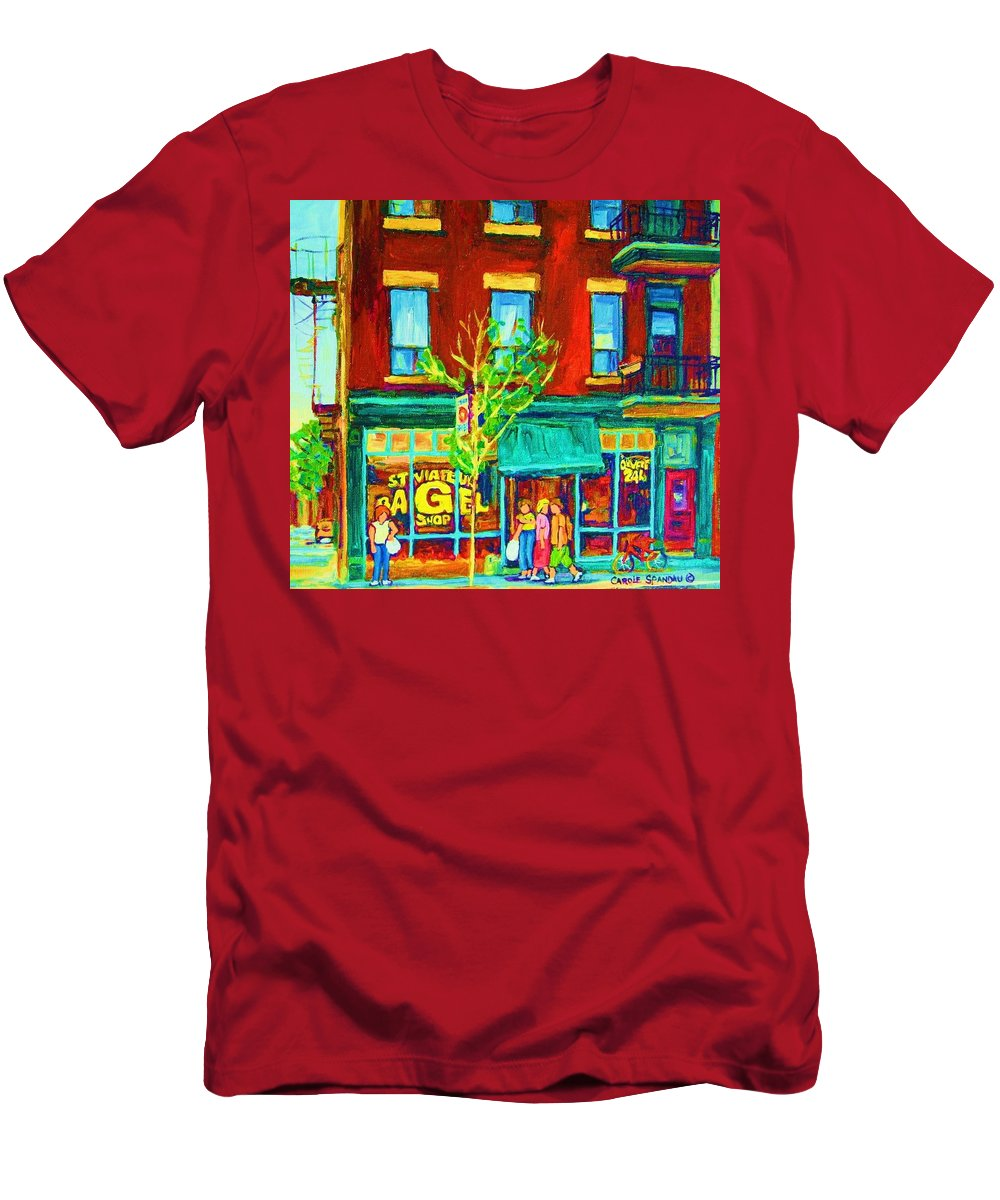 St. Viateur Bagel Shop Men's T-Shirt (Athletic Fit) featuring the painting St Viateur Bagel Shop by Carole Spandau