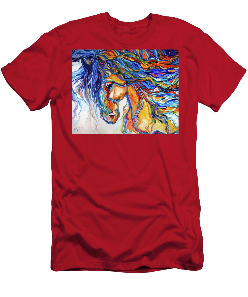 Equine Men's T-Shirt (Athletic Fit) featuring the painting Stallion Southwest By M Baldwin by Marcia Baldwin