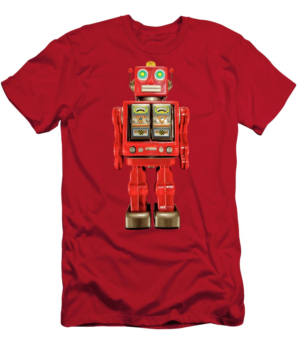 Art Men's T-Shirt (Athletic Fit) featuring the photograph Star Strider Robot Red On Black by YoPedro