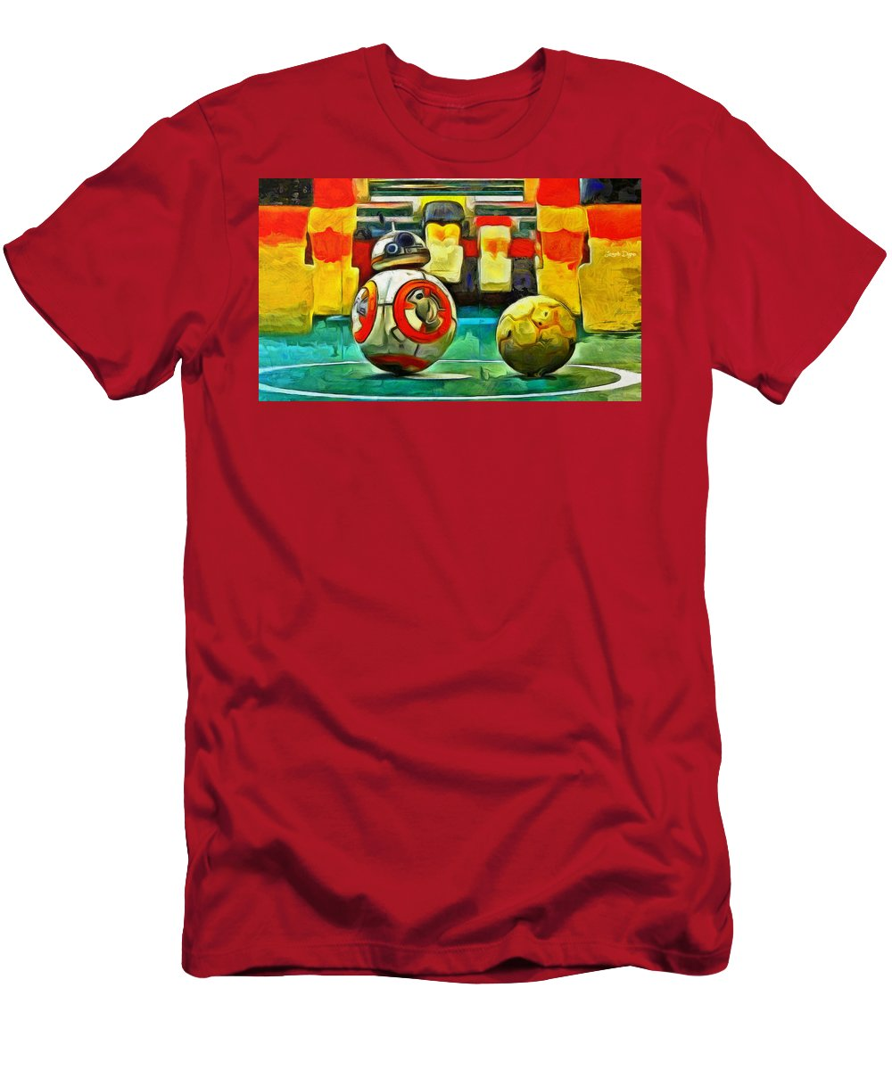 Ball Men's T-Shirt (Athletic Fit) featuring the painting Star Wars Brothers - Pa by Leonardo Digenio