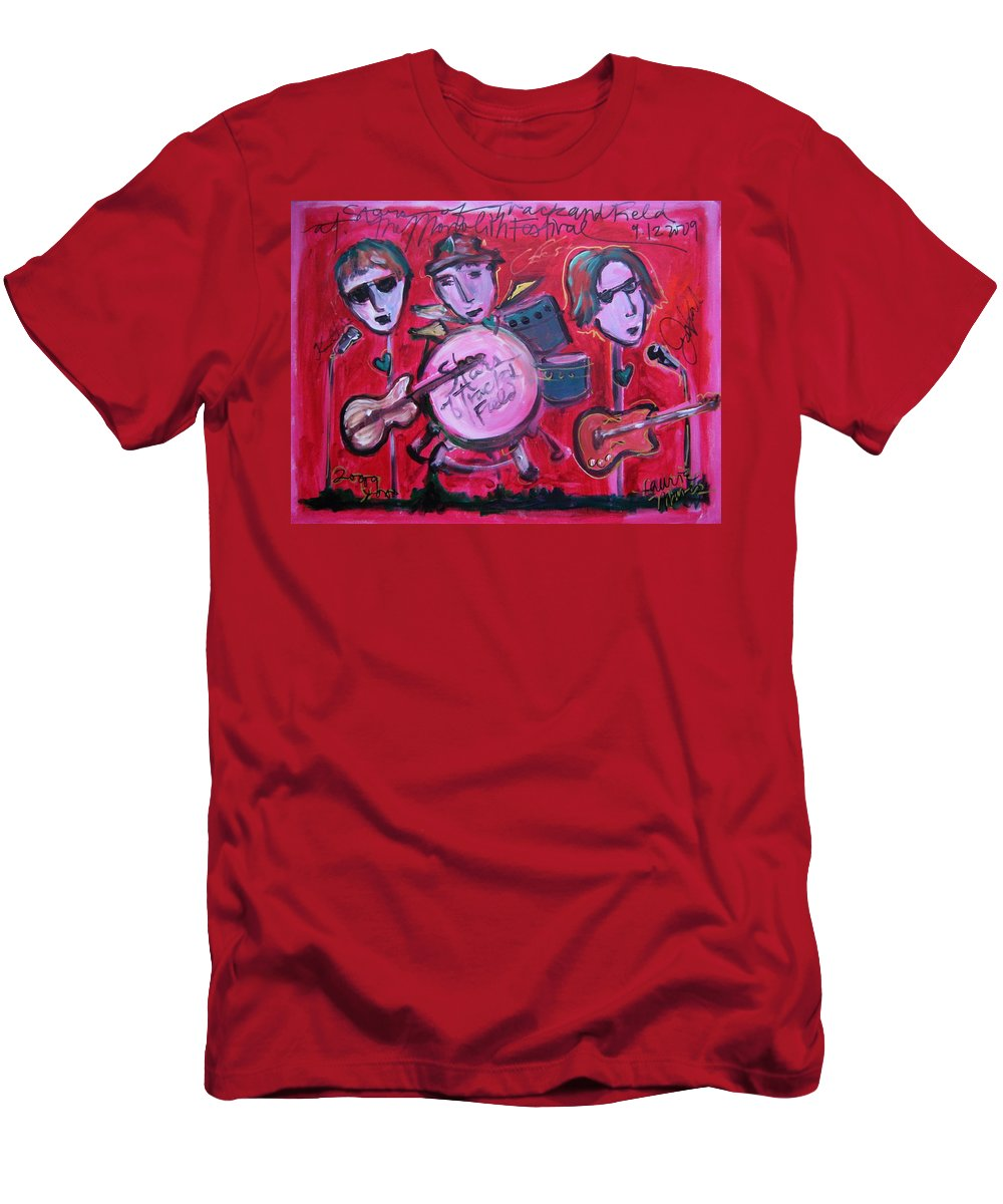 Red Men's T-Shirt (Athletic Fit) featuring the painting Stars Of Track And Field At Monolith by Laurie Maves ART
