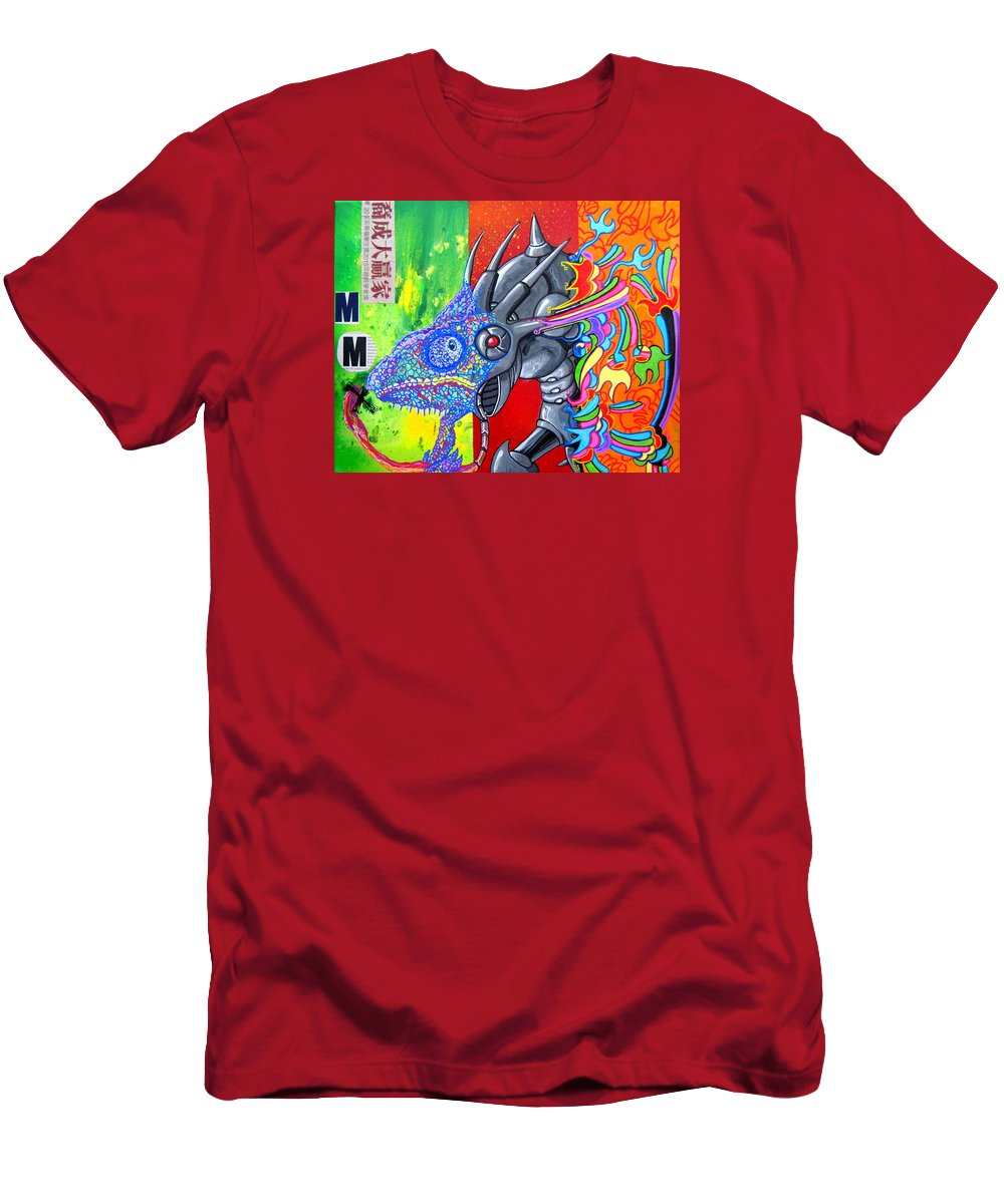 Chameleon Men's T-Shirt (Athletic Fit) featuring the painting Sting Chameleon by Art JWB