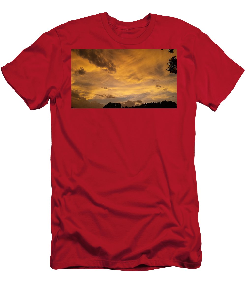 Glowing Storm Clouds Men's T-Shirt (Athletic Fit) featuring the photograph Storm Clouds 6 by Jennifer Kohler