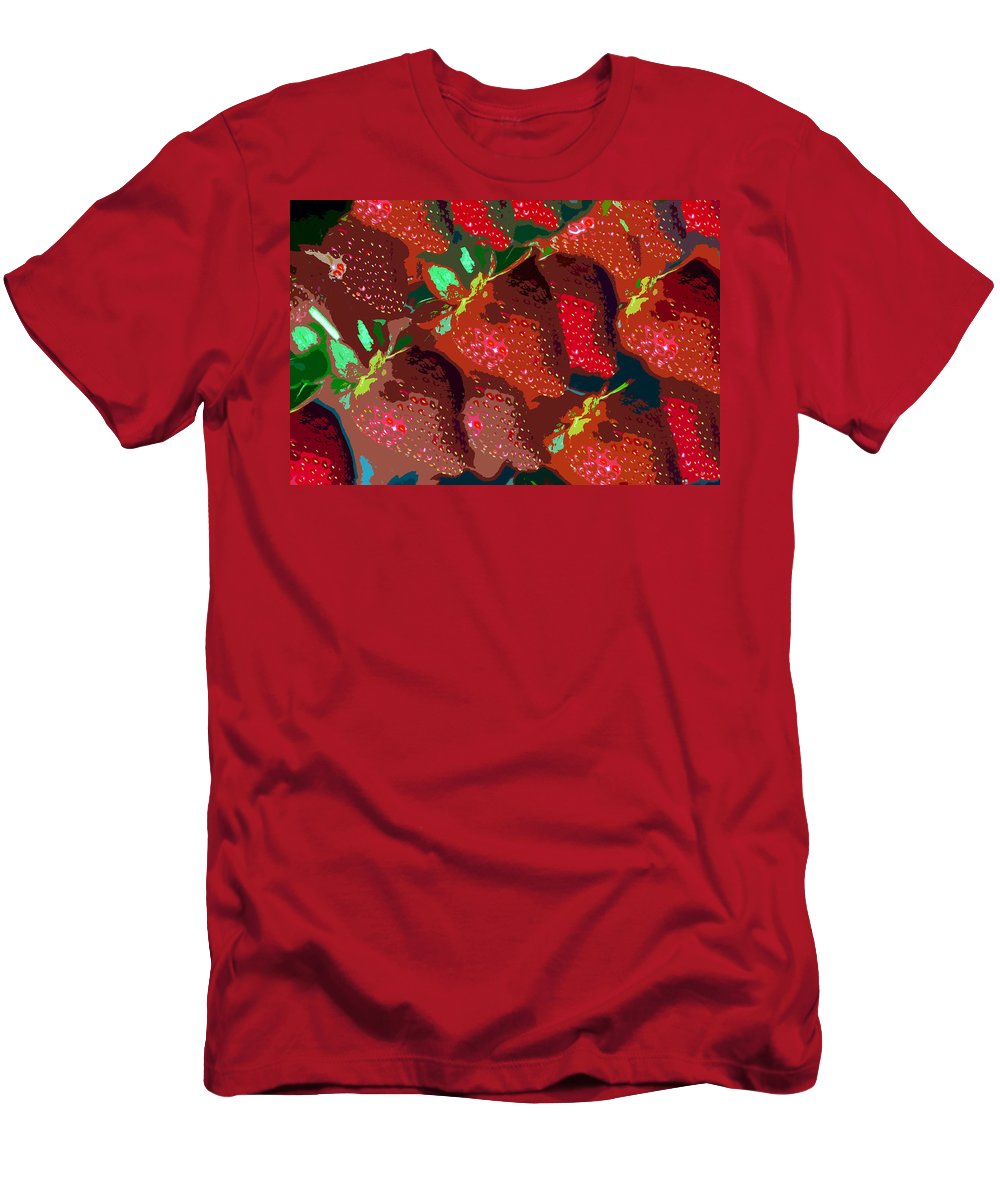 Strawberry T-Shirt featuring the painting Strawberry fields forever by David Lee Thompson