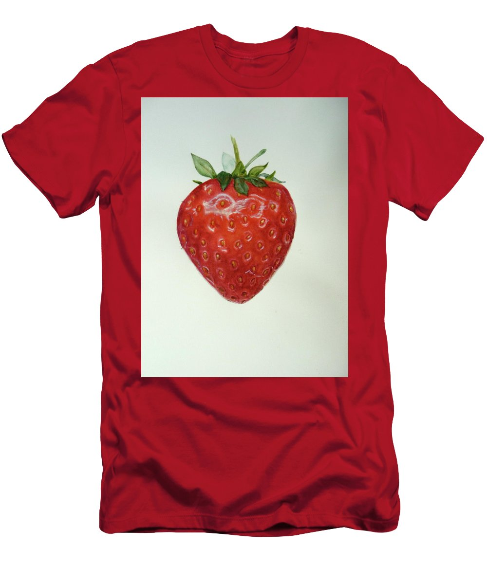 Strawberry Men's T-Shirt (Athletic Fit) featuring the painting Strawberry by Renate Schliesmann
