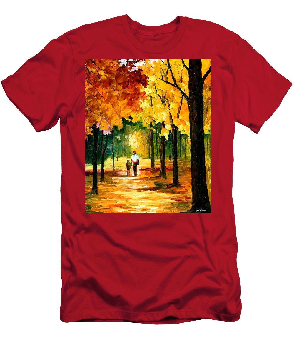 Afremov Men's T-Shirt (Athletic Fit) featuring the painting Stroll In The Forest by Leonid Afremov