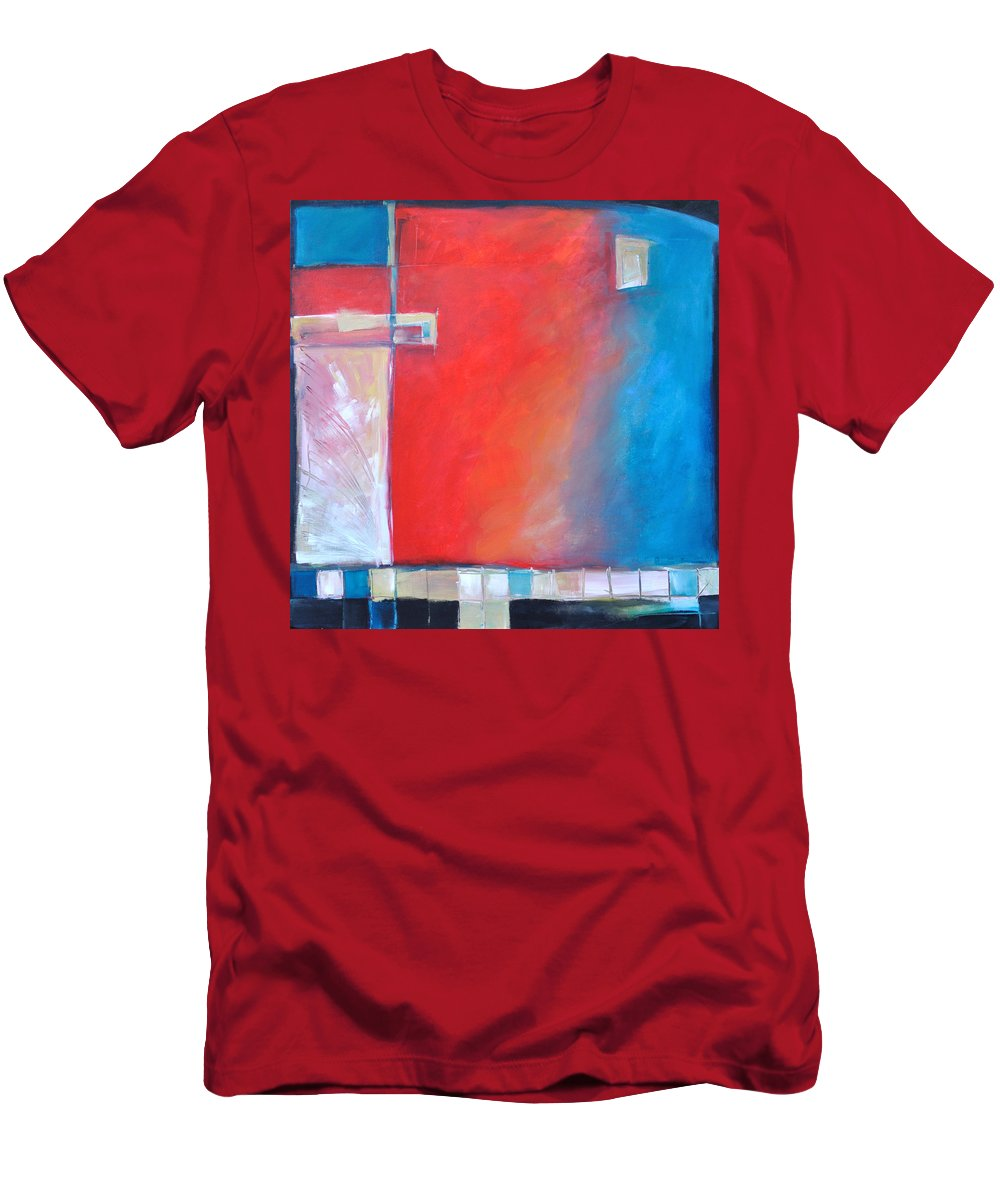 Abstract Men's T-Shirt (Athletic Fit) featuring the painting Structures And Solitude Revisited by Tim Nyberg