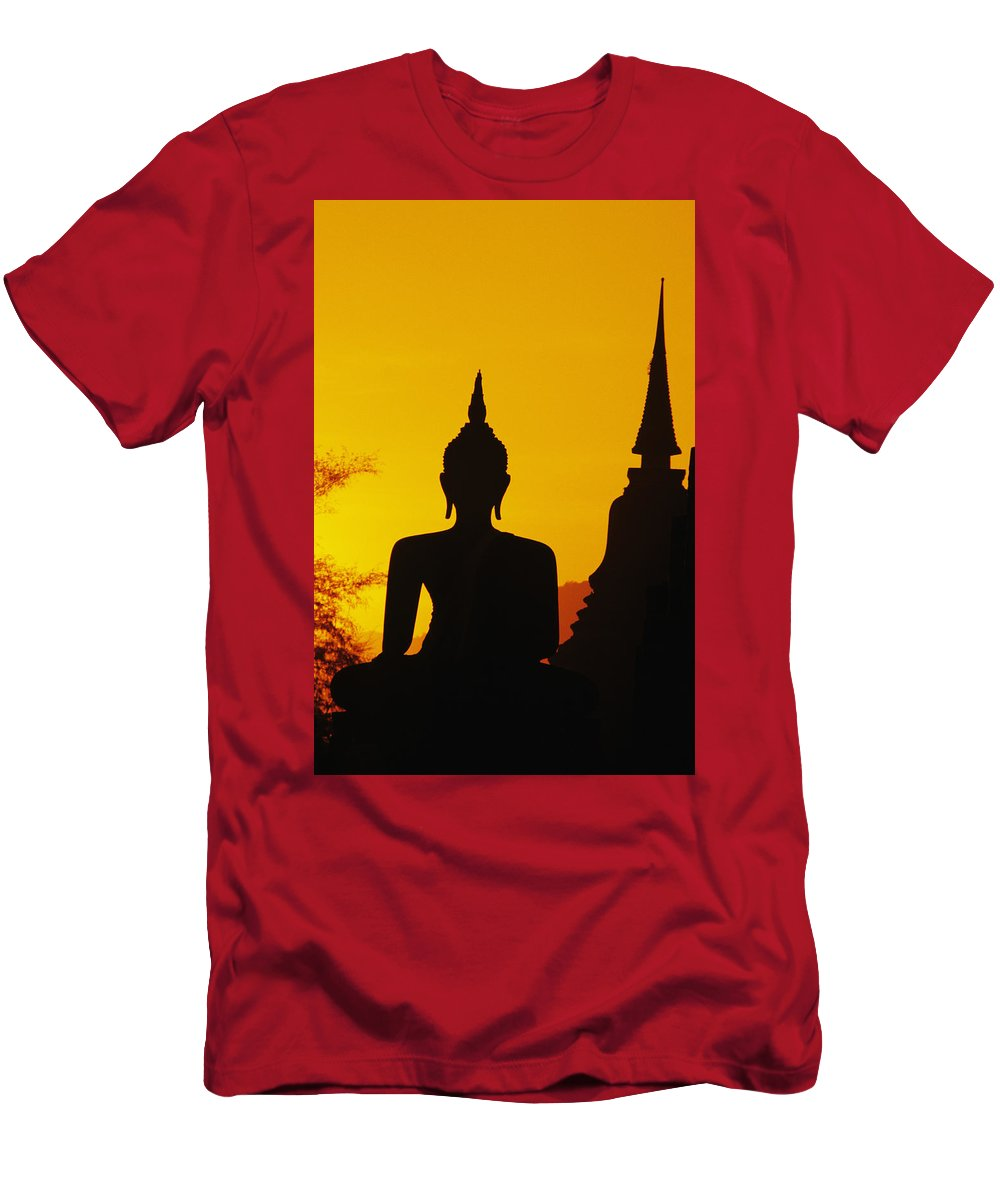Ancient Men's T-Shirt (Athletic Fit) featuring the photograph Sukhothai Temple by Gloria & Richard Maschmeyer - Printscapes
