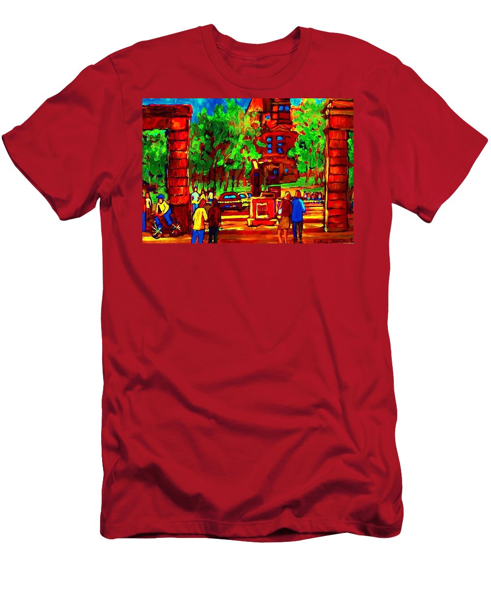 Mcgill University Men's T-Shirt (Athletic Fit) featuring the painting Summer At Mcgill University by Carole Spandau