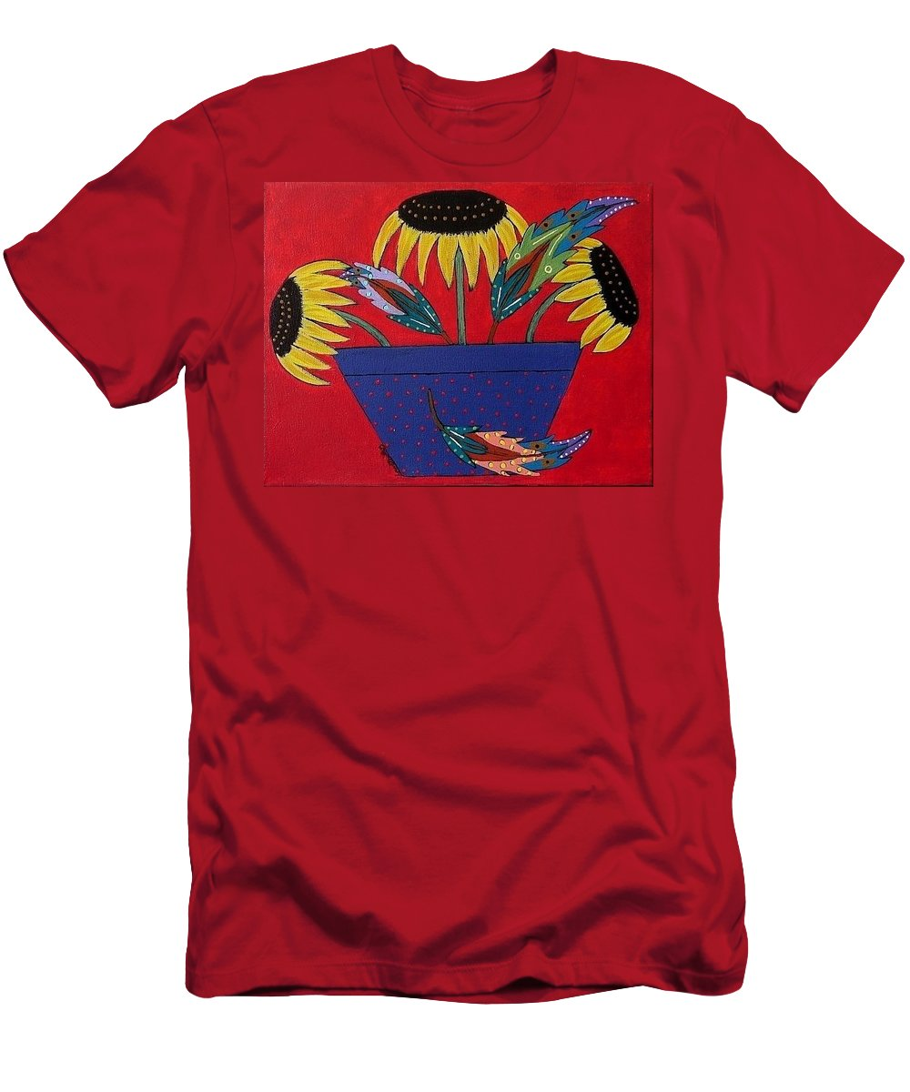 Sunflower Men's T-Shirt (Athletic Fit) featuring the painting Sunflowers And Feathers by Linda Stewart
