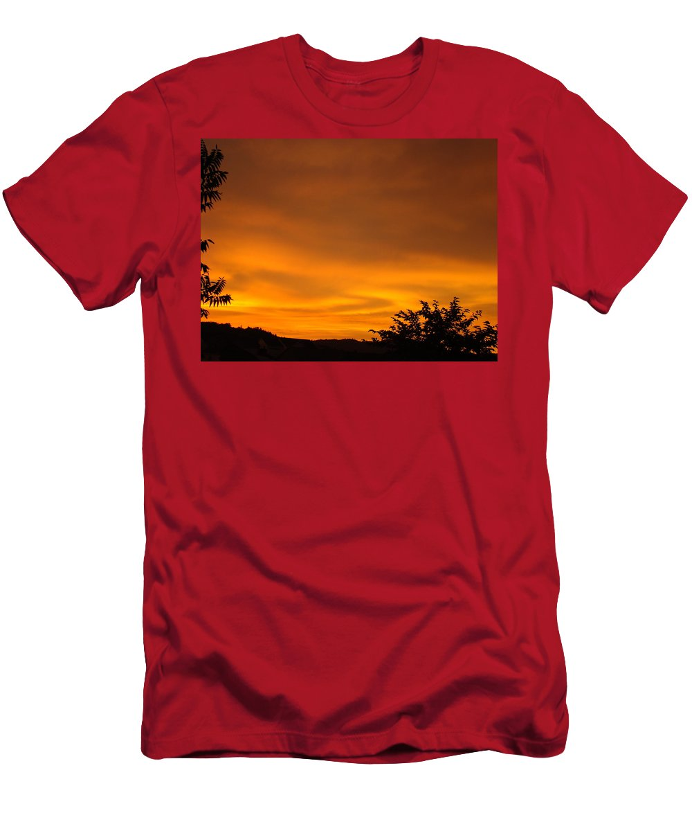 Sunset Men's T-Shirt (Athletic Fit) featuring the photograph Sunset Art Prints Orange Glowing Western Sunset Baslee Troutman by Baslee Troutman
