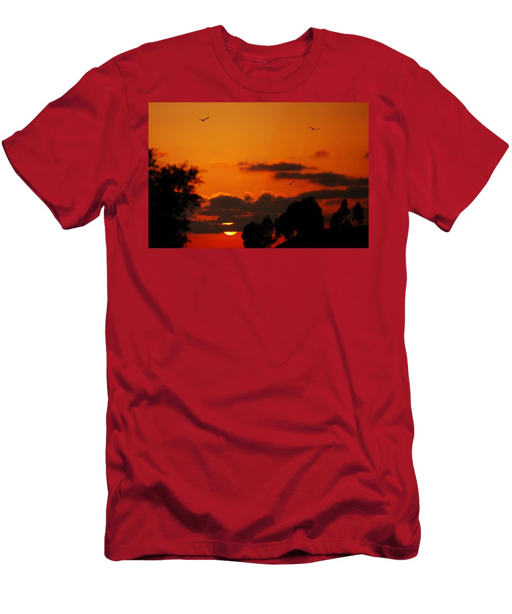 Sunset Men's T-Shirt (Athletic Fit) featuring the photograph Sunset Birds by Jill Reger