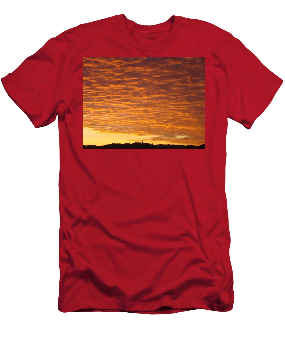 Sunset Men's T-Shirt (Athletic Fit) featuring the photograph Sunset Fiery Orange Sunset Art Prints Sky Clouds Giclee Baslee Troutman by Baslee Troutman