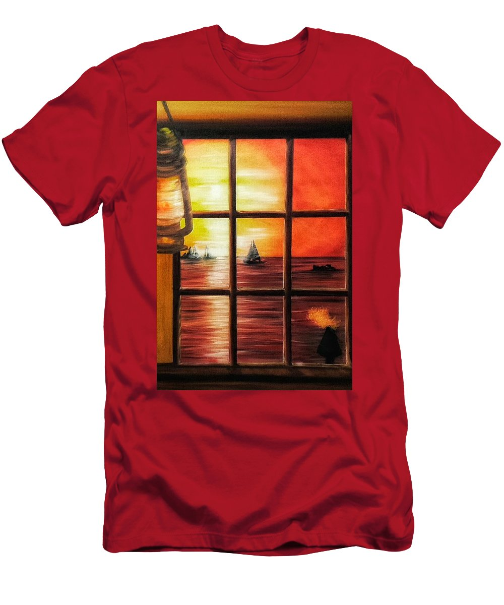 Men's T-Shirt (Athletic Fit) featuring the painting Sunset Key by Joel Cafiero