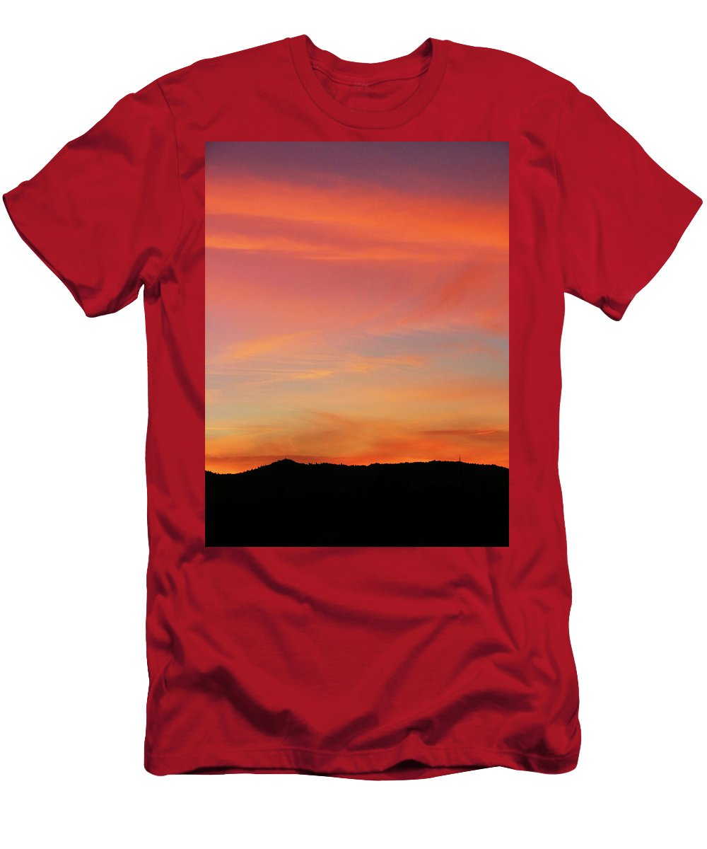 Pink Men's T-Shirt (Athletic Fit) featuring the photograph Sunset Off Of Kings Hwy by Teri Schuster