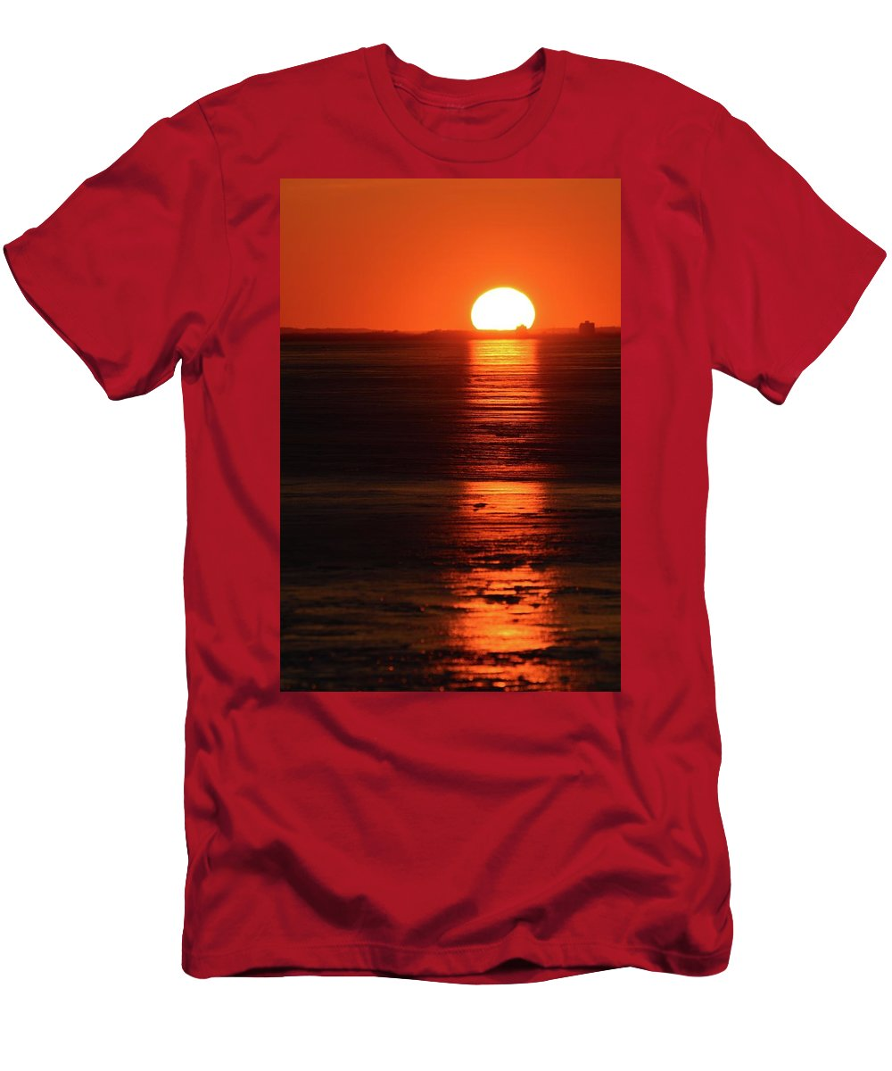 Abstract Men's T-Shirt (Athletic Fit) featuring the digital art Sunset On February 26-2018 Over Barrie by Lyle Crump