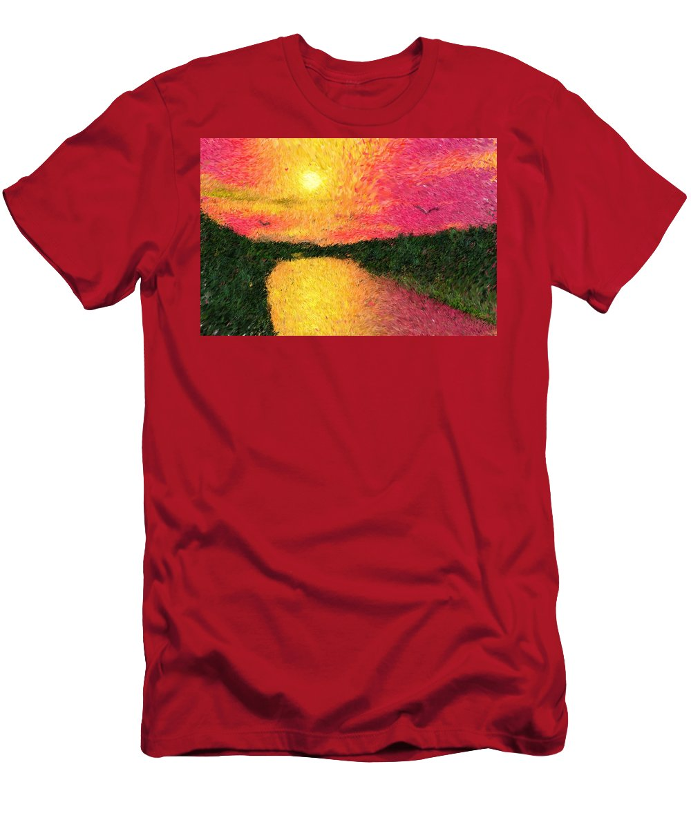 Digital Art Men's T-Shirt (Athletic Fit) featuring the digital art Sunset On The River by David Lane