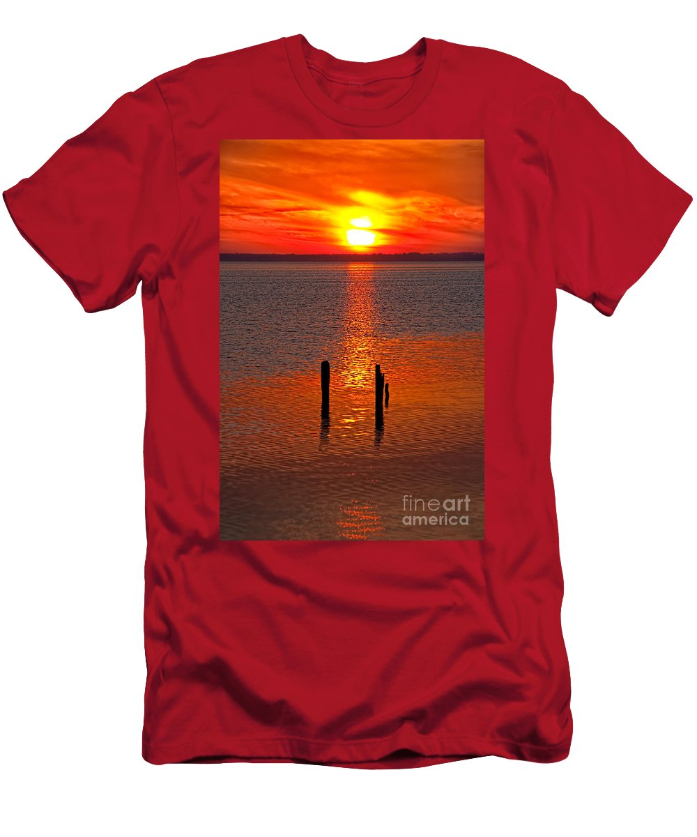 North Carolina Men's T-Shirt (Athletic Fit) featuring the photograph Sunset Over Currituck Sound by Dan Carmichael