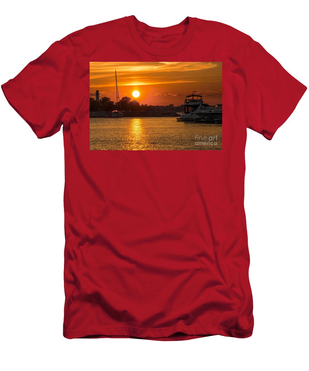 Marina.boat Men's T-Shirt (Athletic Fit) featuring the photograph Sunset Over Marina by Nikki Vig
