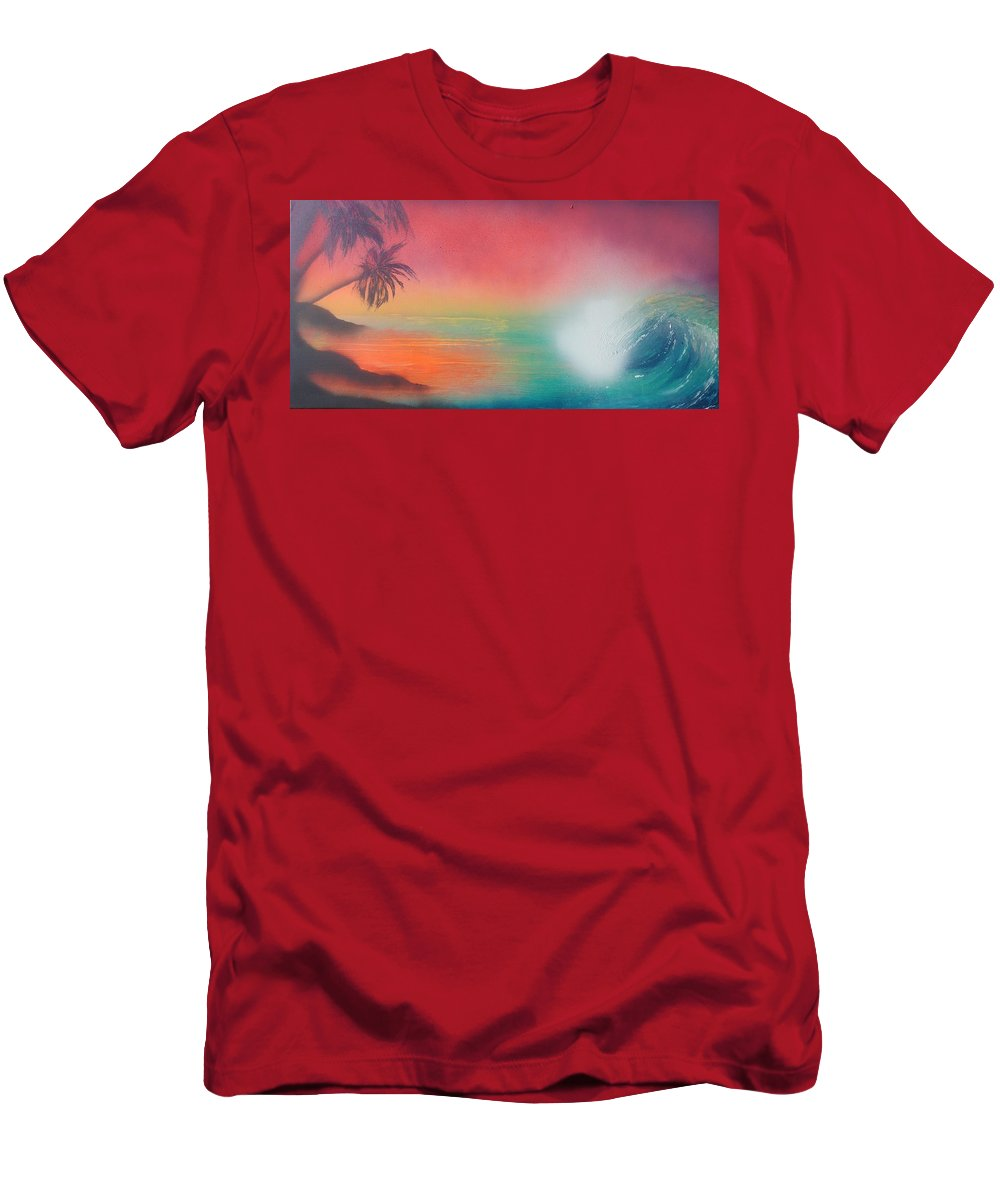 Ocean Men's T-Shirt (Athletic Fit) featuring the painting Sunset Spray by James Bender