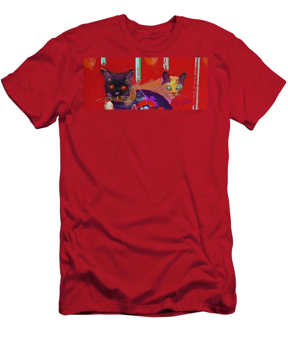 Cat Men's T-Shirt (Athletic Fit) featuring the painting Suspicious Minds by Charles Stuart