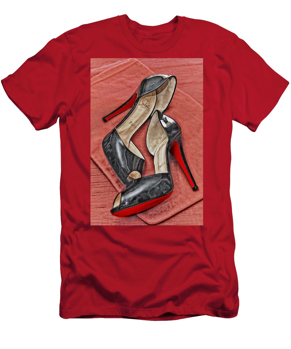 Shoes Men's T-Shirt (Athletic Fit) featuring the photograph Suzette Loves Her Louboutins by Maggie Magee Molino