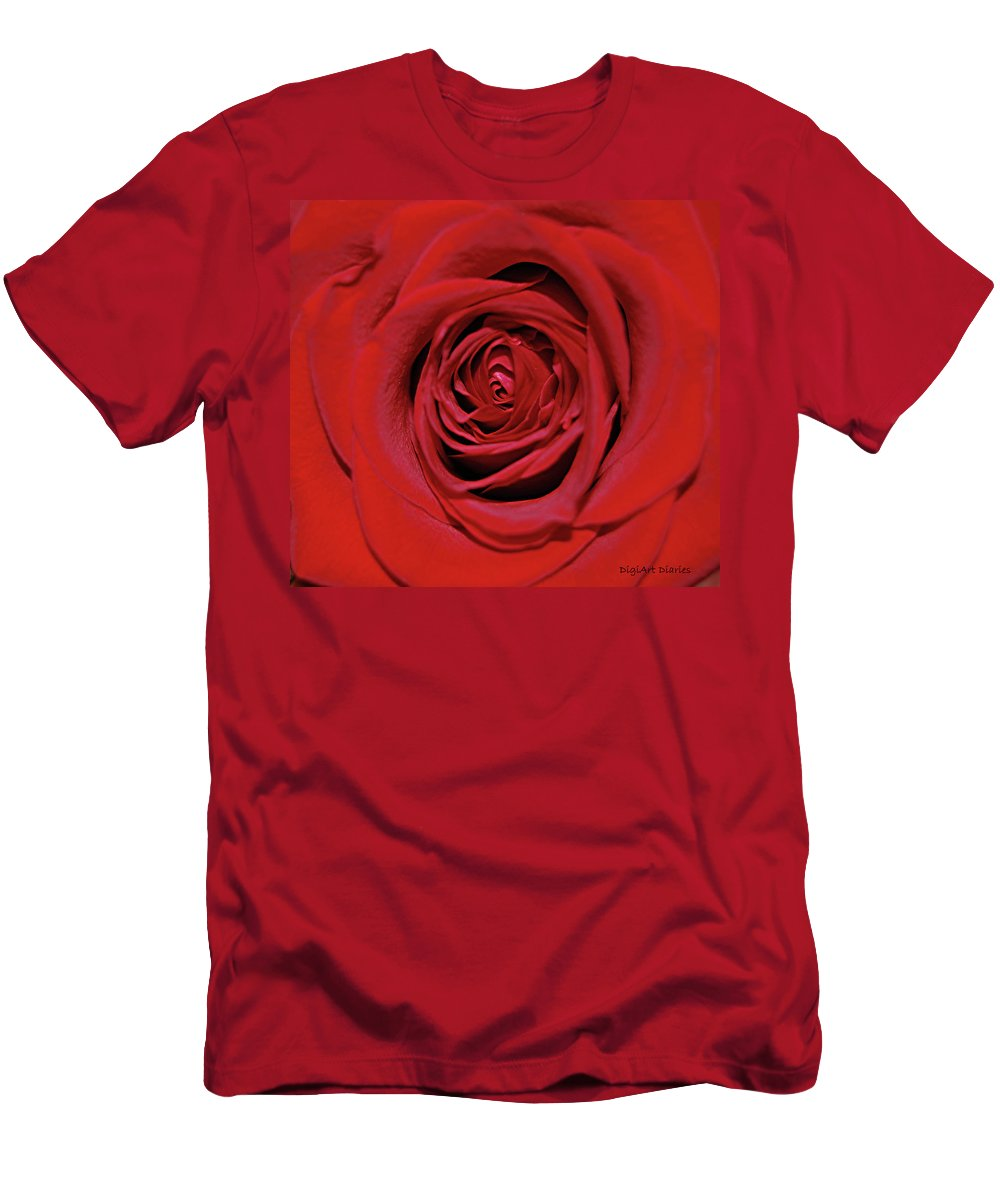 Rose Men's T-Shirt (Athletic Fit) featuring the digital art Swirling Red Silk by DigiArt Diaries by Vicky B Fuller