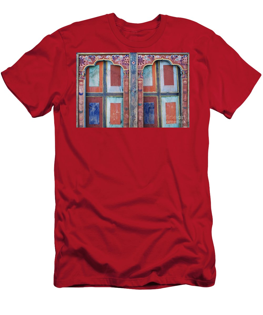 Architectural Men's T-Shirt (Athletic Fit) featuring the photograph Ta Dzong Museum by Larry Dale Gordon - Printscapes