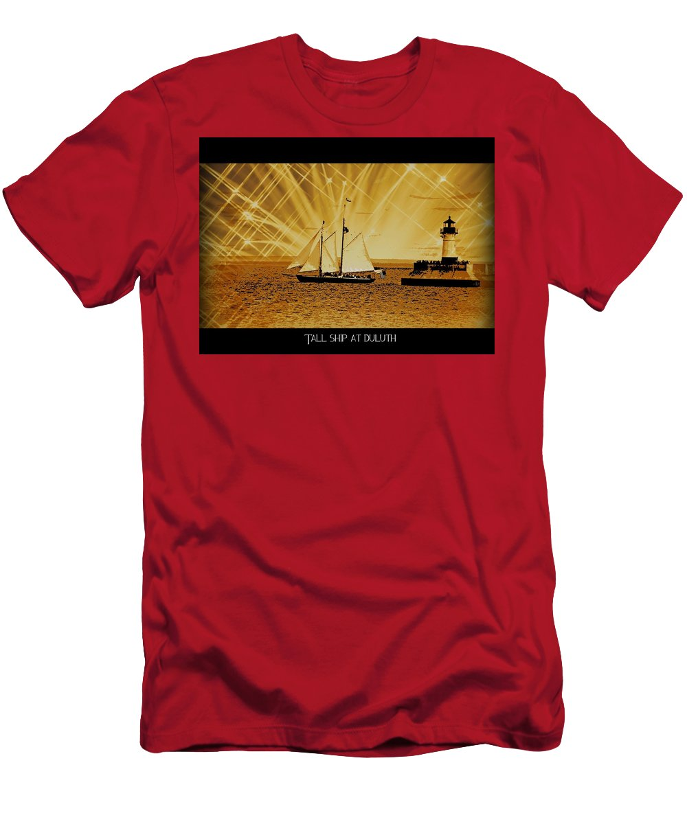 Duluth Men's T-Shirt (Athletic Fit) featuring the photograph Tall Ship At Duluth by Kim Blaylock