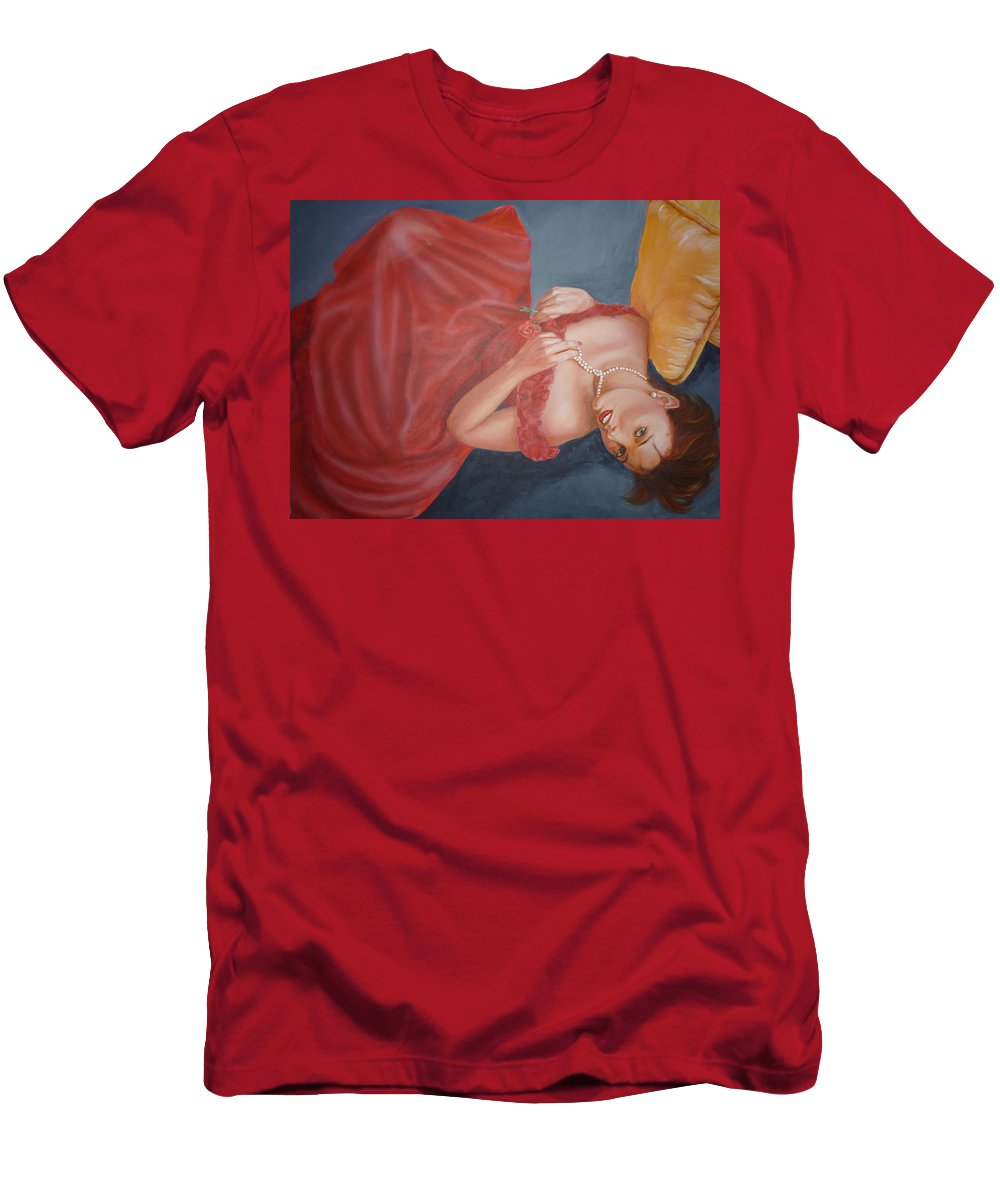 Romantic Men's T-Shirt (Athletic Fit) featuring the painting Tammy by Bryan Bustard