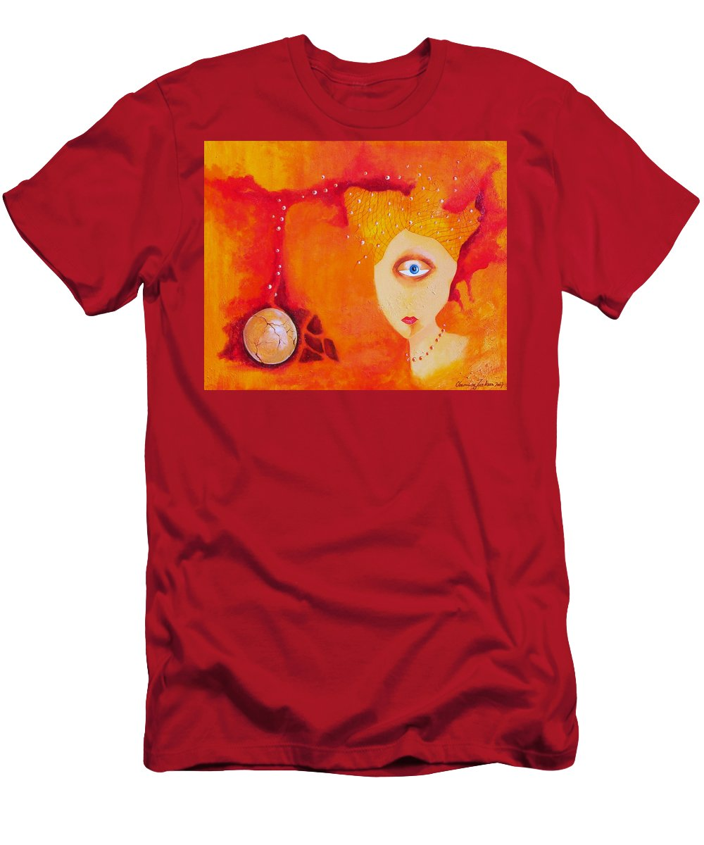 Tangerine Orange Eyes Woman Pearls Thoughts Life Egg Men's T-Shirt (Athletic Fit) featuring the painting Tangerine Dream by Veronica Jackson
