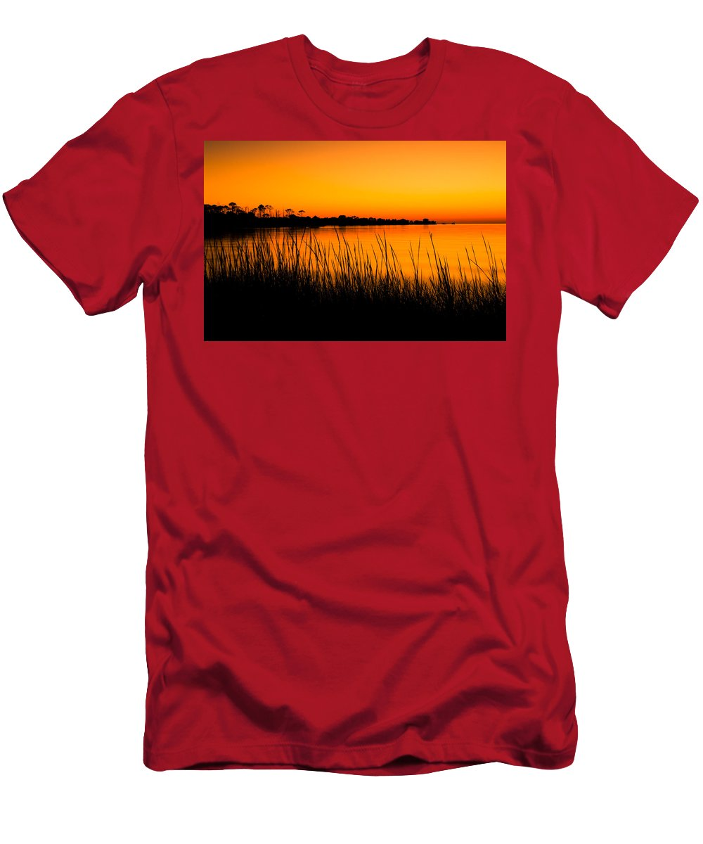 Beach Men's T-Shirt (Athletic Fit) featuring the photograph Tangerine Sunset by Rich Leighton