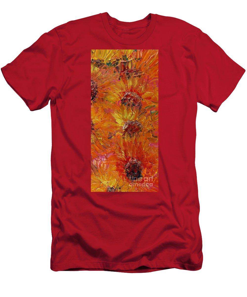 Sunflowers Men's T-Shirt (Athletic Fit) featuring the painting Textured Sunflowers by Nadine Rippelmeyer