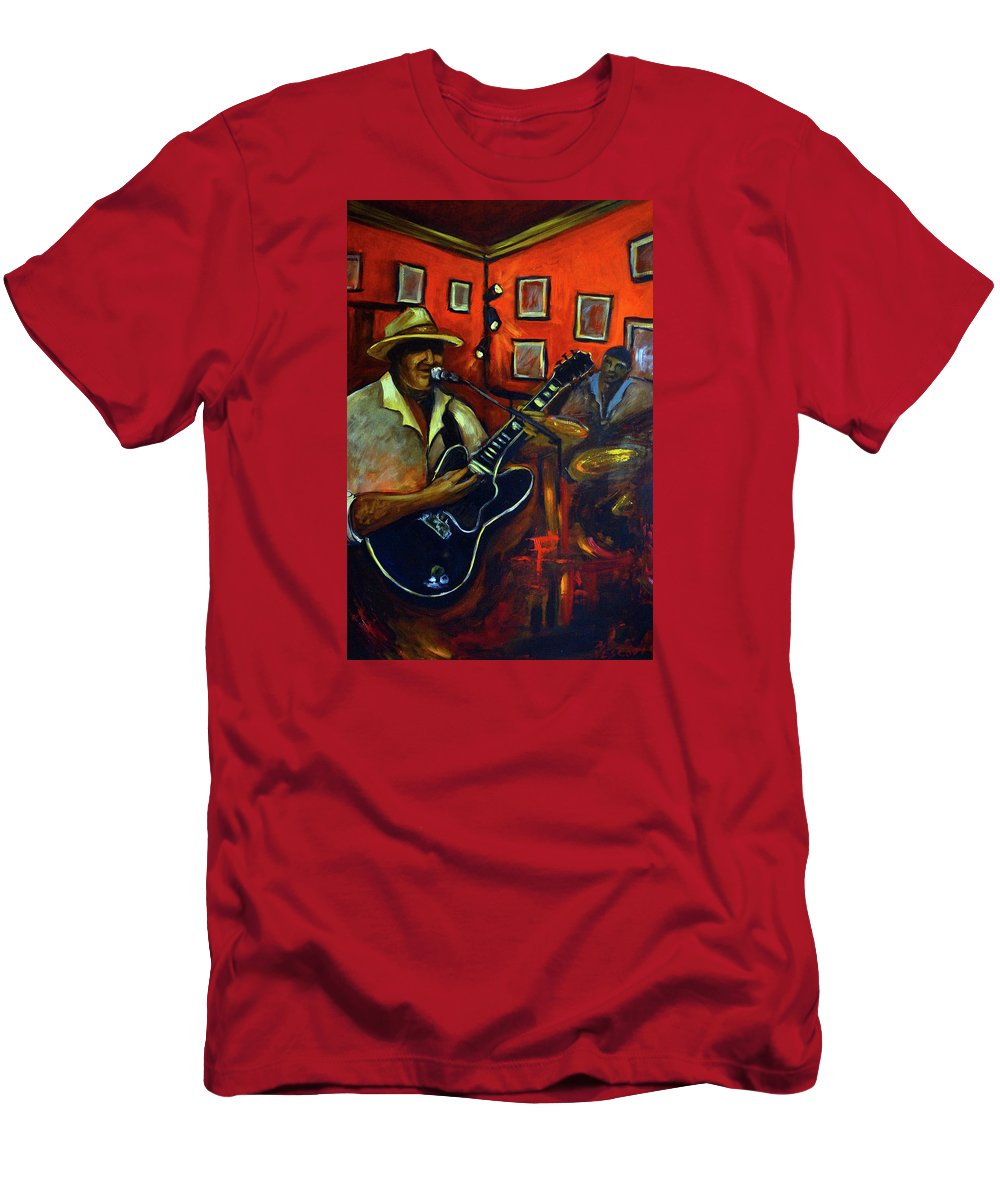 Blues Men's T-Shirt (Athletic Fit) featuring the painting The Back Room by Valerie Vescovi