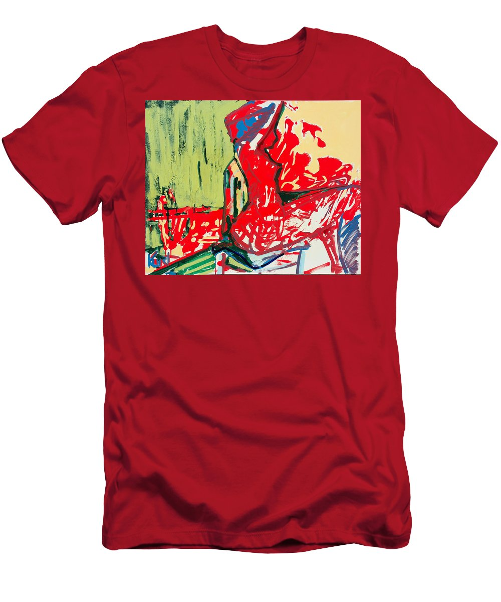Woman Men's T-Shirt (Athletic Fit) featuring the painting The Blue Chair by Kurt Hausmann