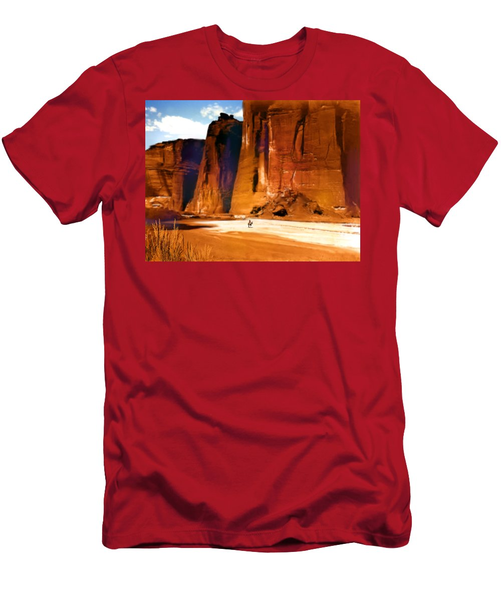 Native Americans Men's T-Shirt (Athletic Fit) featuring the painting The Canyon by Paul Sachtleben