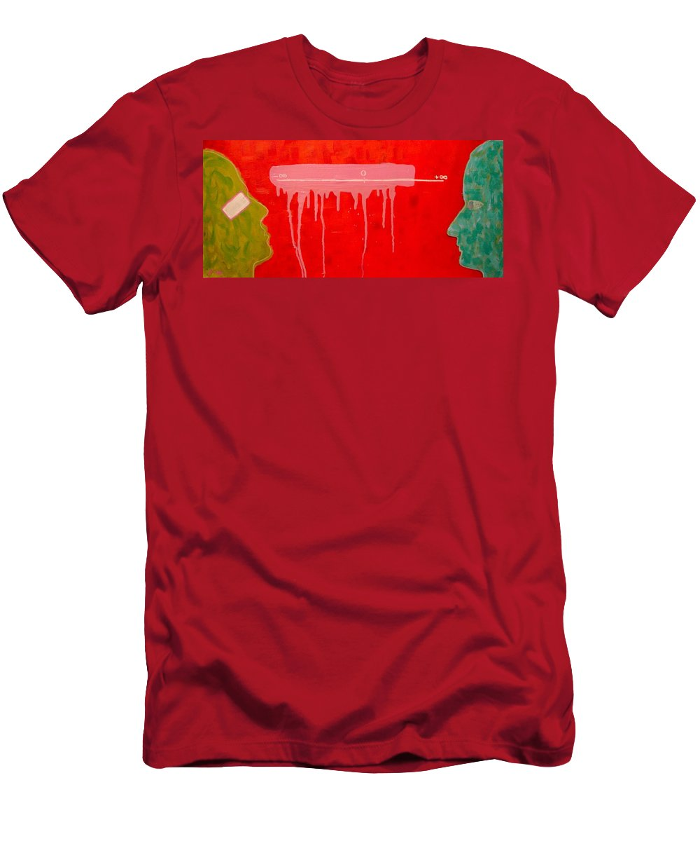 Abstract Men's T-Shirt (Athletic Fit) featuring the painting The Distance Between Me And Myself by Ana Maria Edulescu