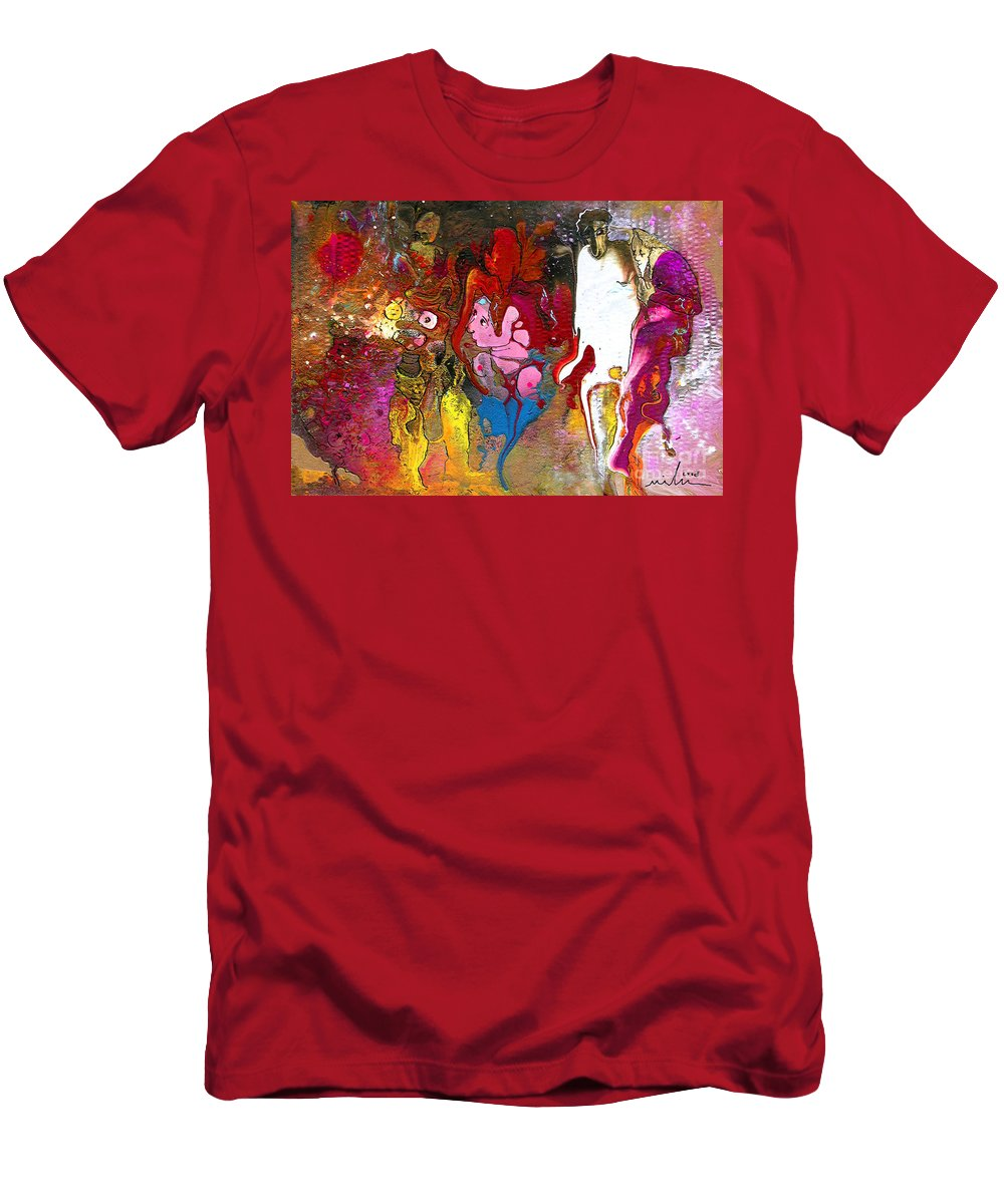 Miki T-Shirt featuring the painting The First Wedding by Miki De Goodaboom
