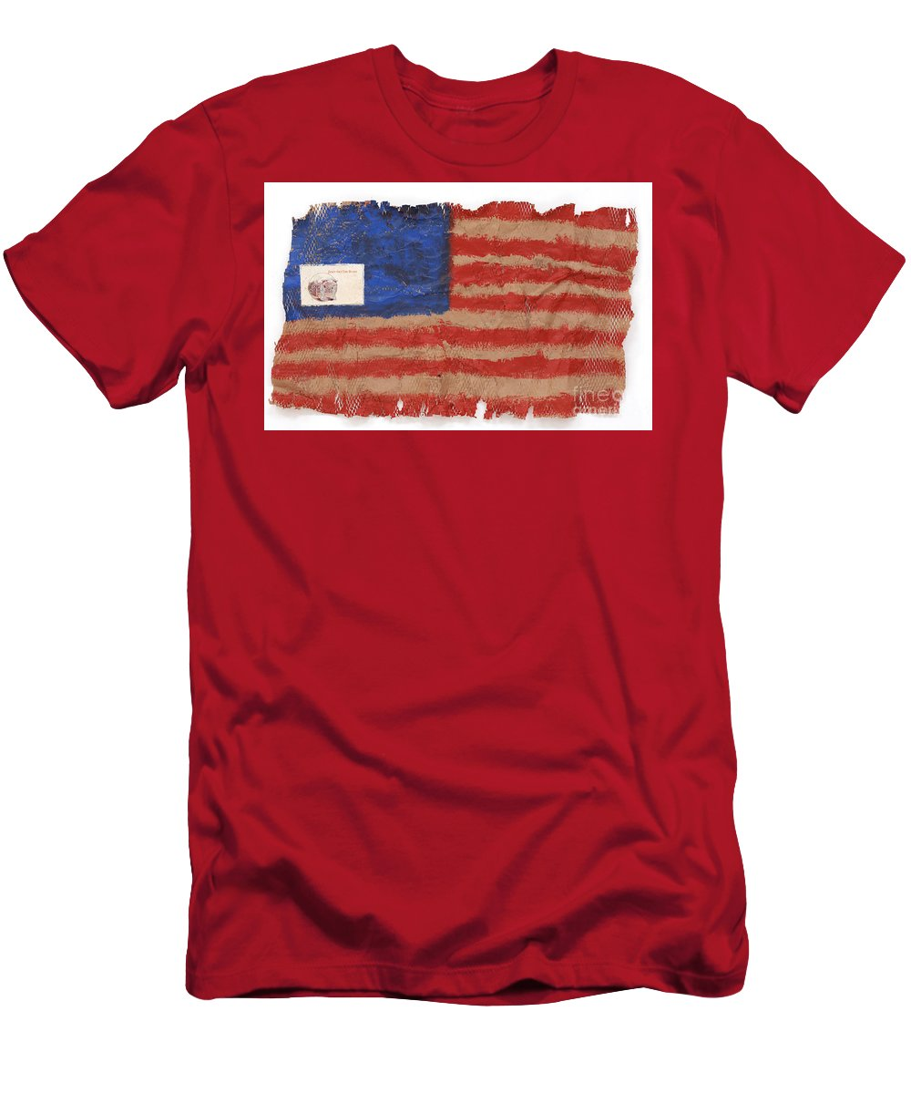 Flag Men's T-Shirt (Athletic Fit) featuring the mixed media The Flag by Jaime Becker