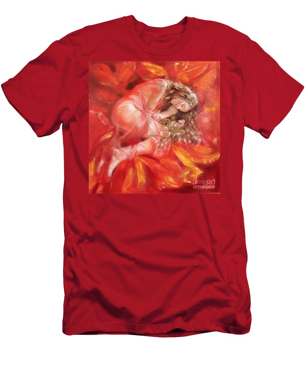 Oil Men's T-Shirt (Athletic Fit) featuring the painting The Flower Paradise by Sergey Ignatenko