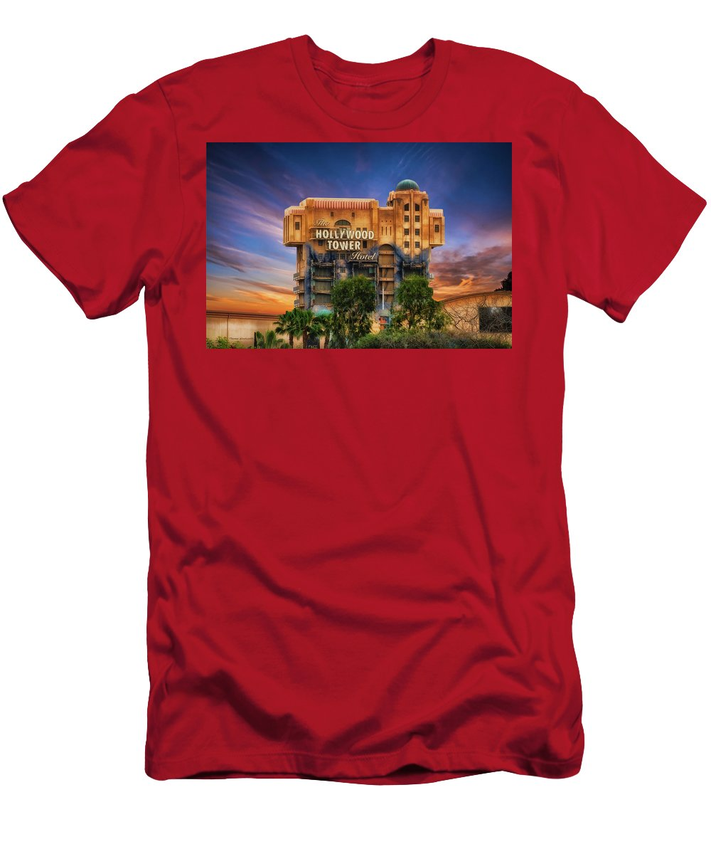 Hollywood Tower Hotel Disneyland Men's T-Shirt (Athletic Fit) featuring the photograph The Hollywood Tower Hotel Disneyland by Thomas Woolworth