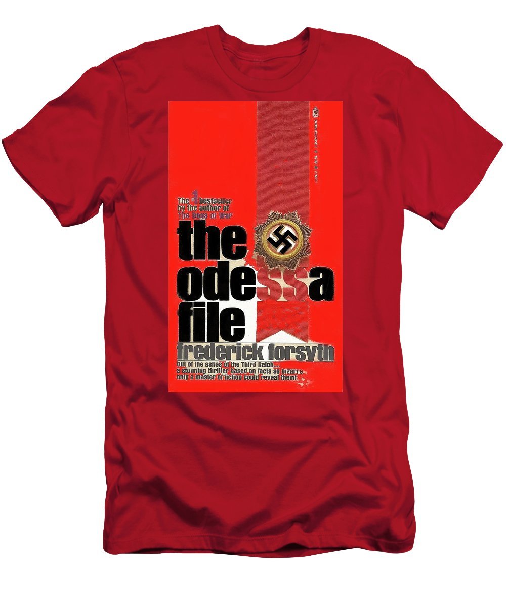 The Odessa File Frederick Forsyth Book Cover 1972 Color Added 2016 Men's T-Shirt (Athletic Fit) featuring the photograph The Odessa File Frederick Forsyth Book Cover 1972 Color Added 2016 by David Lee Guss