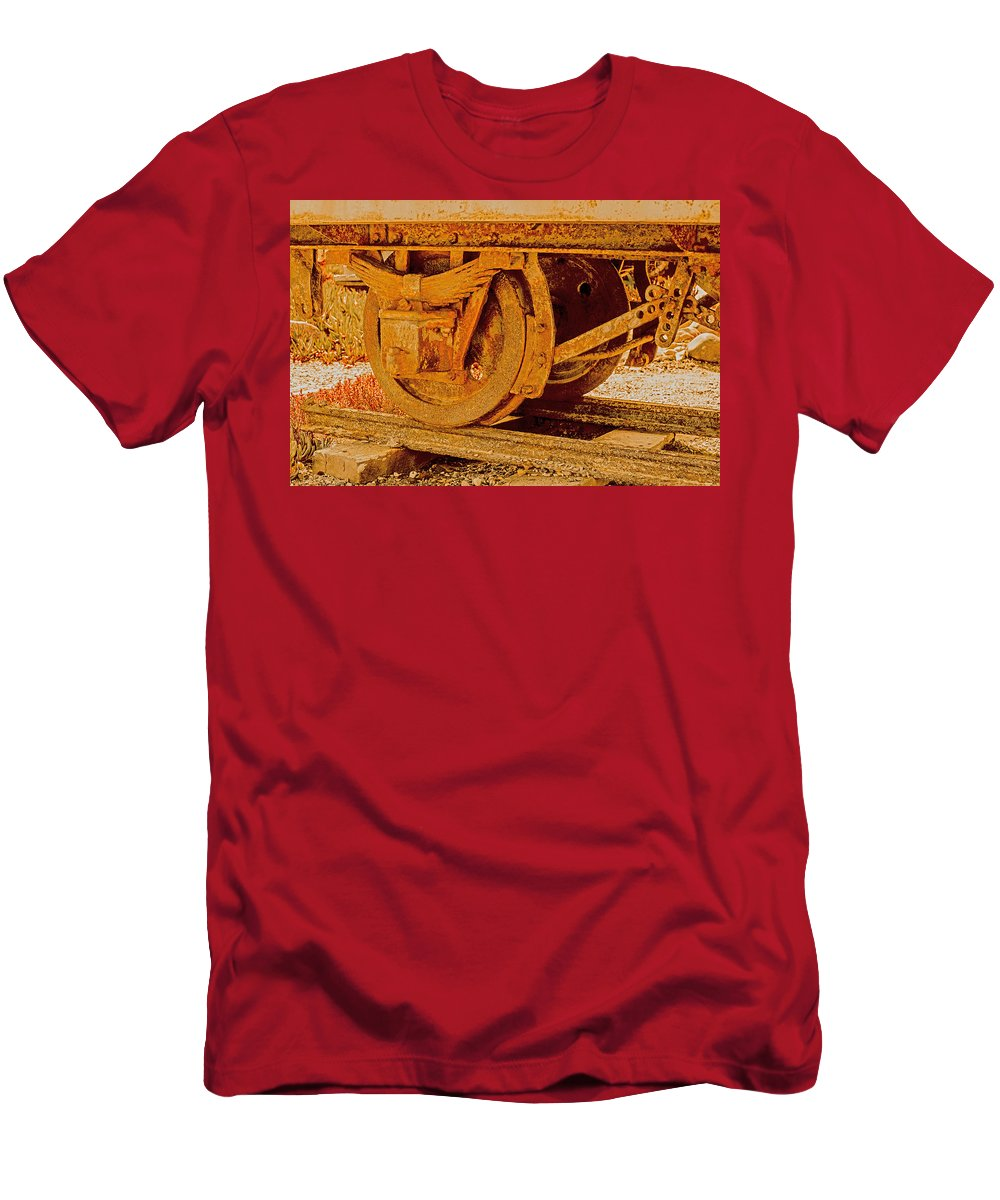 Machines Men's T-Shirt (Athletic Fit) featuring the photograph The Old Railway Wagon by Patrick Kain