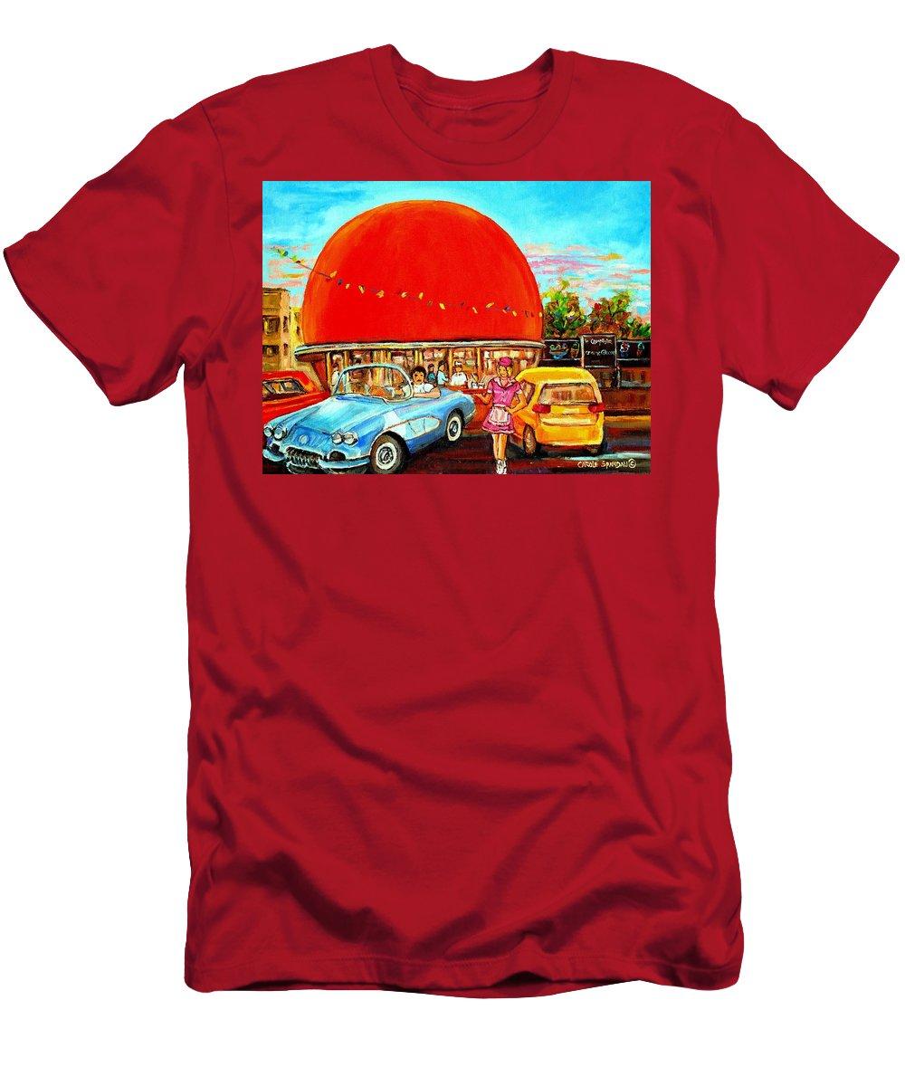 The Orange Julep Montreal Men's T-Shirt (Athletic Fit) featuring the painting The Orange Julep Montreal by Carole Spandau