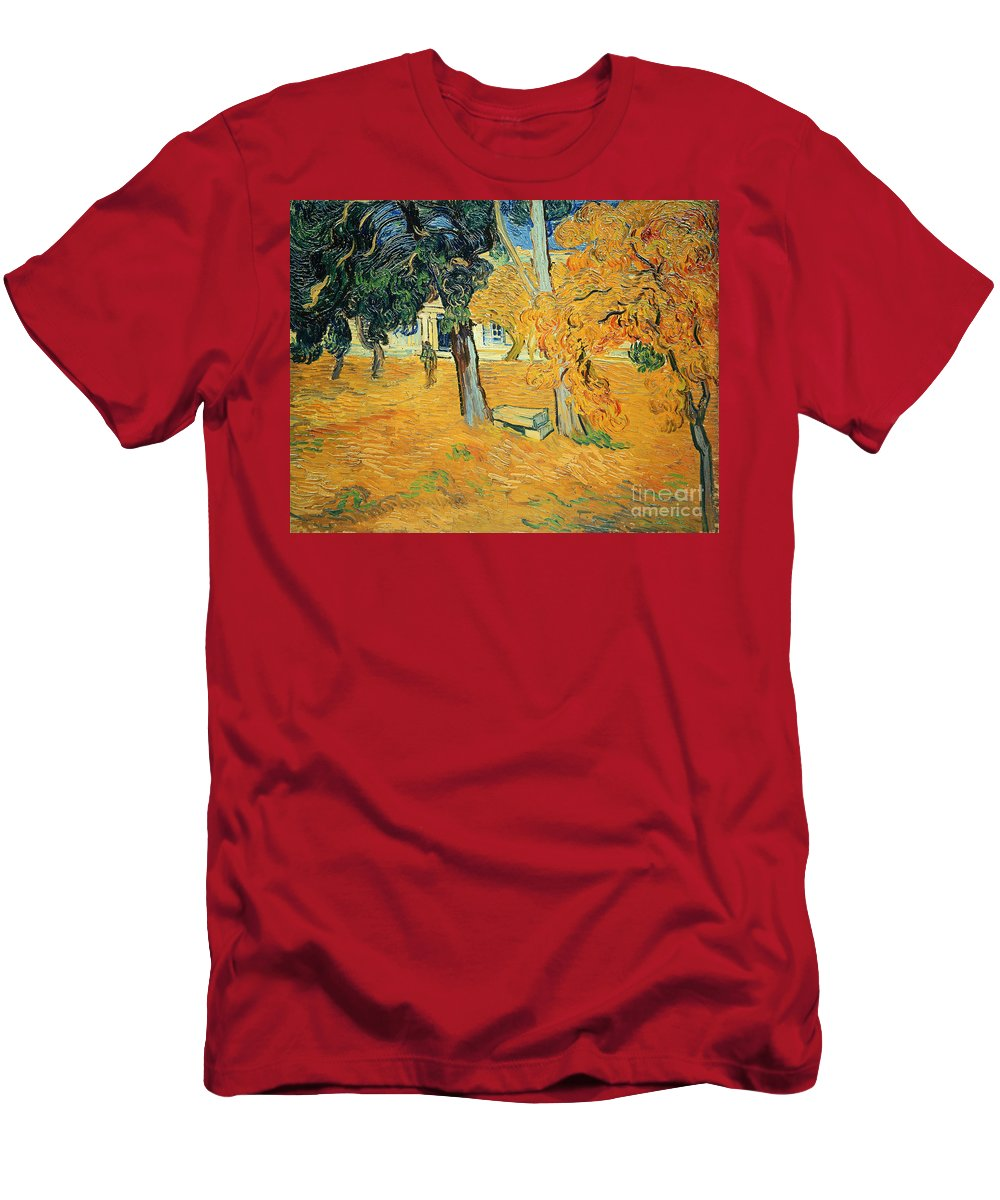 The Men's T-Shirt (Athletic Fit) featuring the painting The Park At Saint Pauls Hospital Saint Remy by Vincent van Gogh